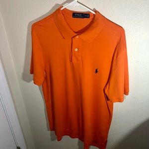 Polo by Ralph Lauren, Mens Size Large, Polo Style Short Sleeve, Orange/Blue Pony